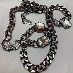 Black Chunky Chain Rhinestone Chicos necklace